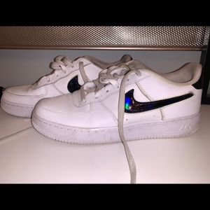 Nike Air Force 1 white with black swoosh and heel.